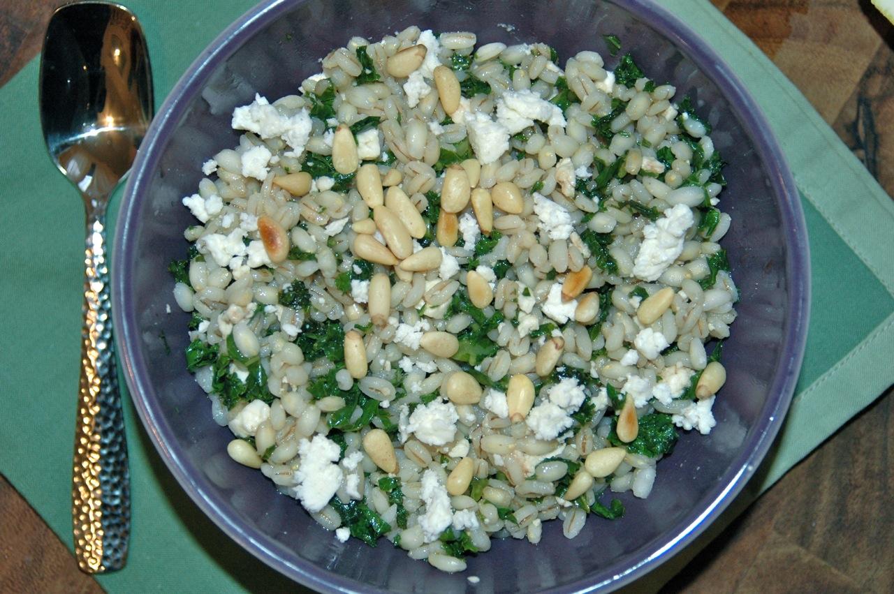 Kale and Feta Barley Salad with Lemon Honey Balsamic Dressing