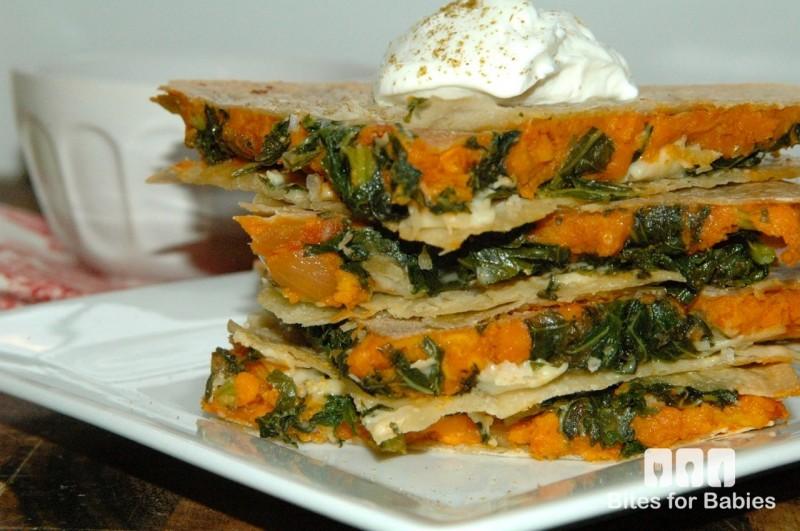 Kale Sweet Potato Quesadillas - Bites for Foodies