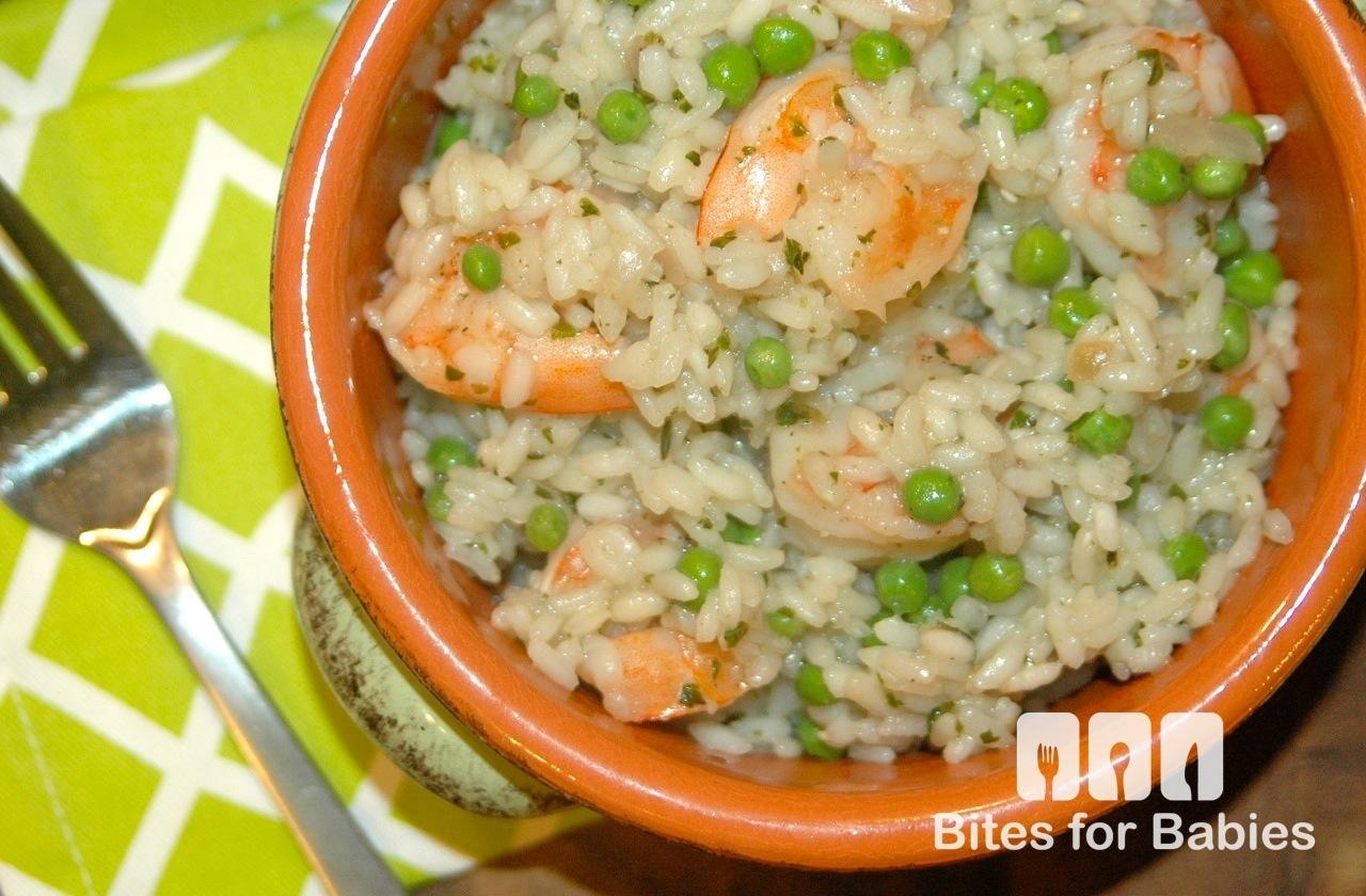 Shrimp Sweet Pea Pesto Risotto