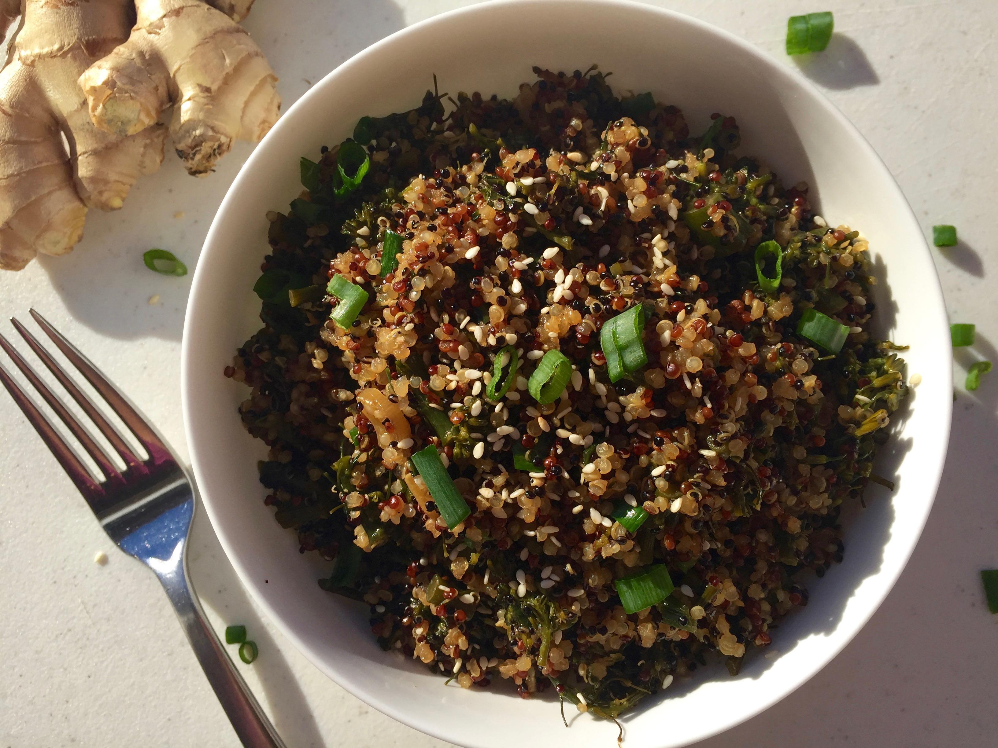 Ginger Sesame Broccoli Rabe Quinoa (GoGo Quinoa Giveaway!)