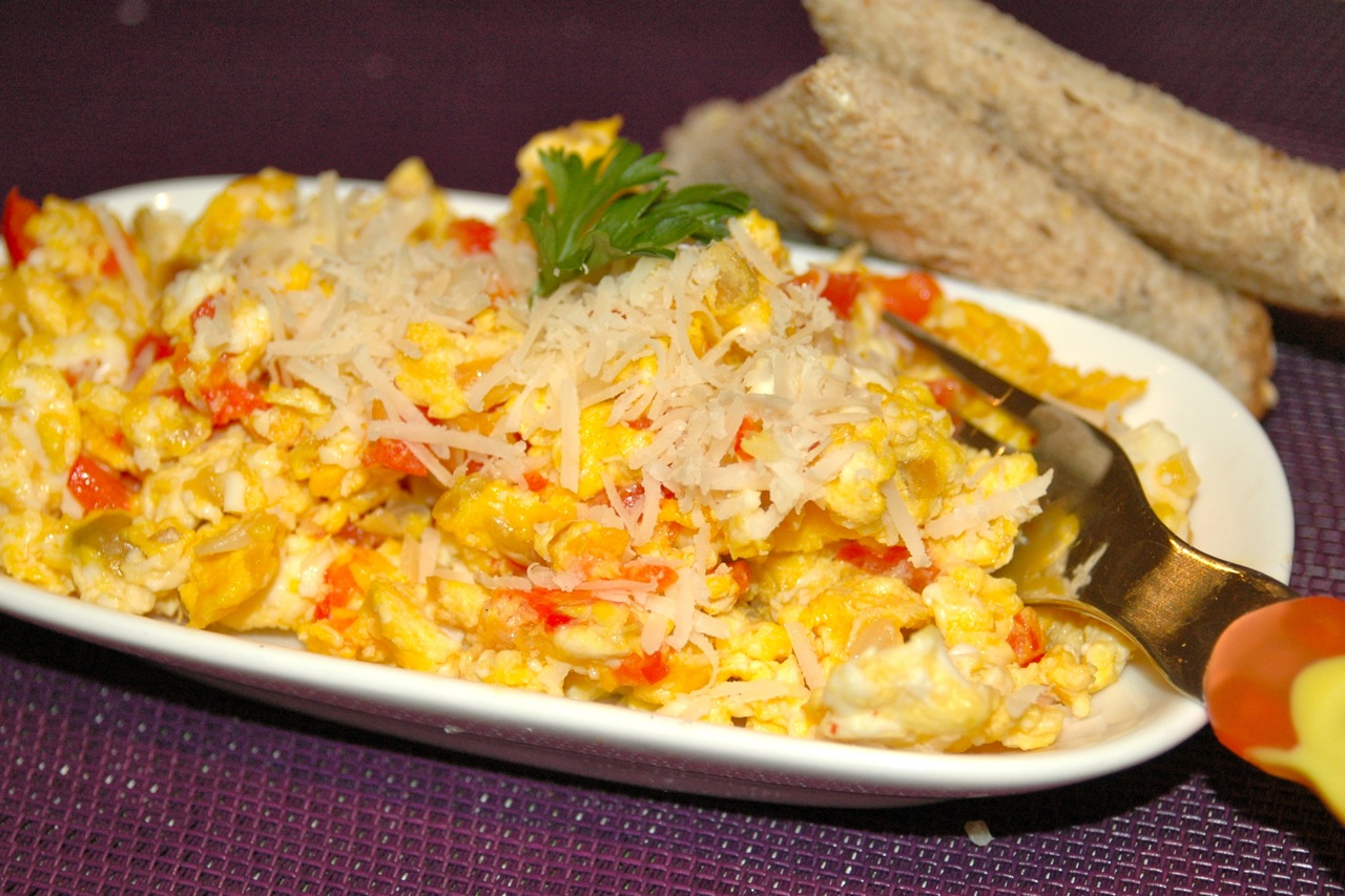 Scrambled Eggs Onions and Peppers