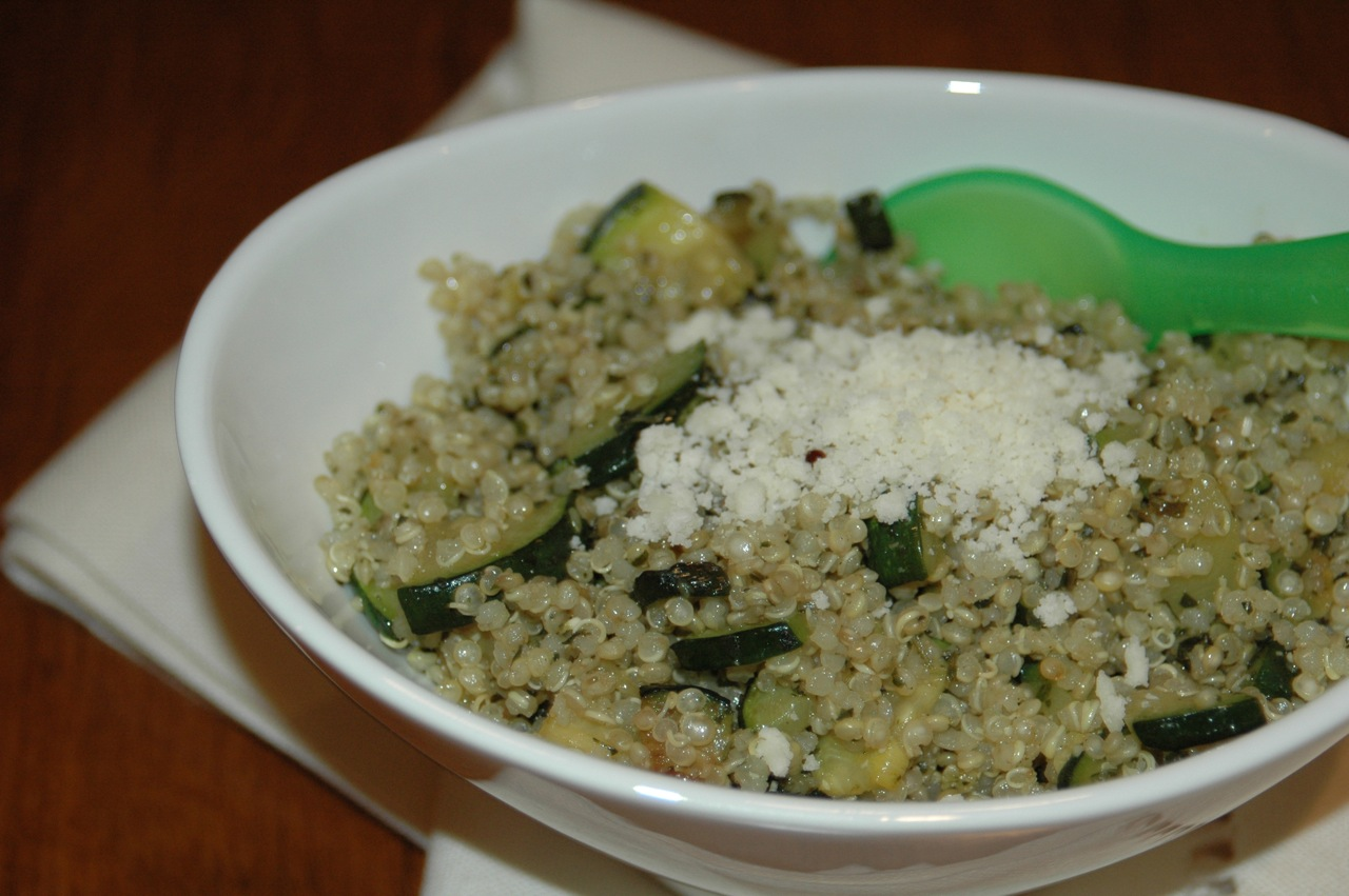 Sauteed Zucchini and Pesto Quinoa
