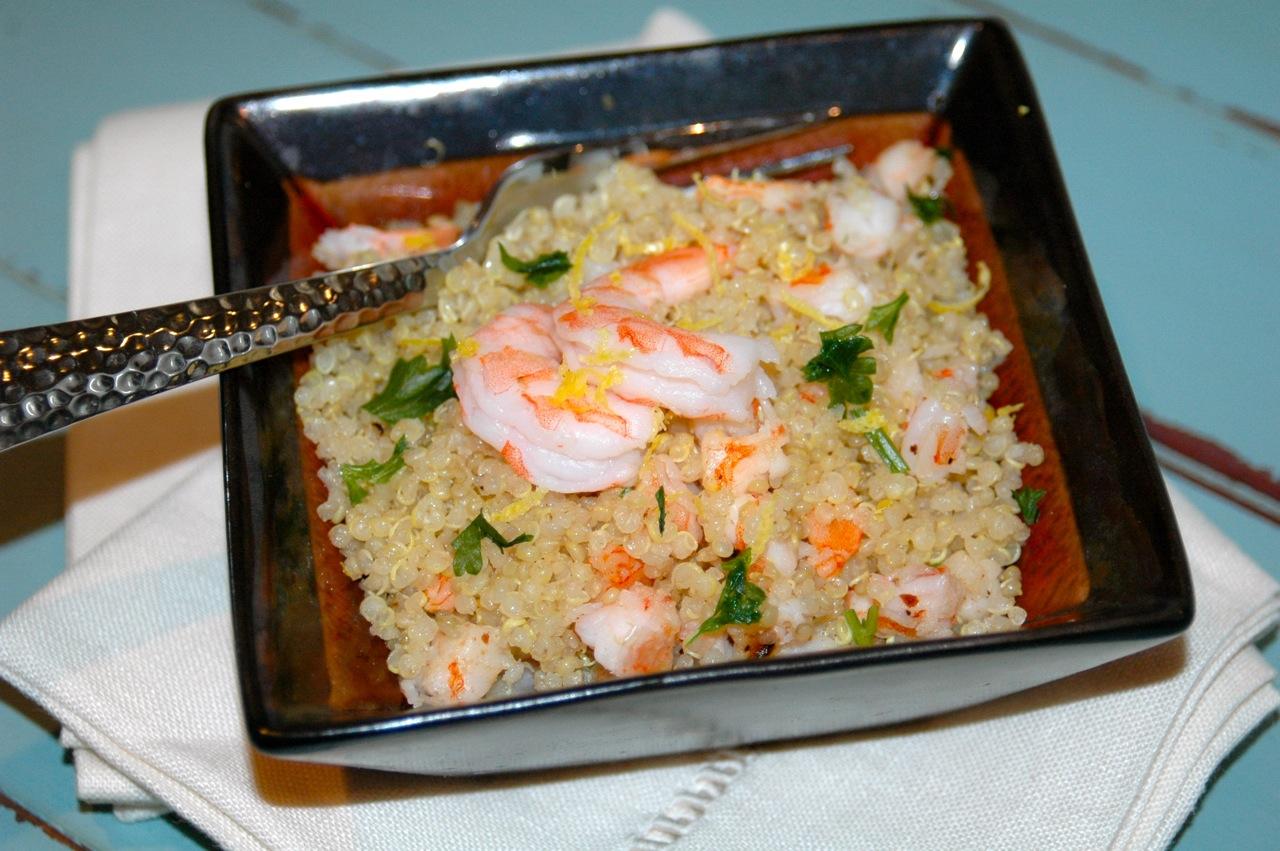 Quinoa with Sautéed Lemon Saffron Shrimp