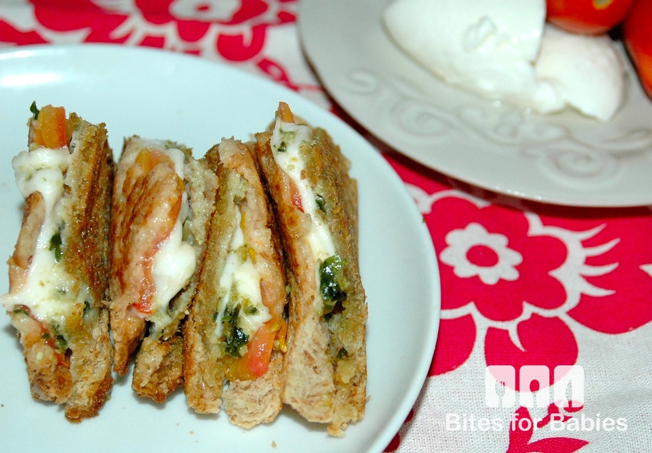 Pesto Caprese Grilled Cheese Sandwich