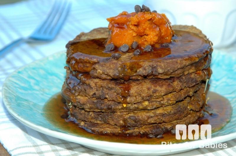Pumpkin Chocolate Oatmeal Pancakes