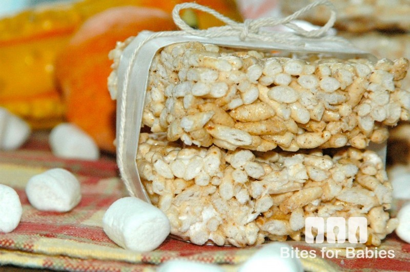 Pumpkin Marshmallow Puffed Rice Bars