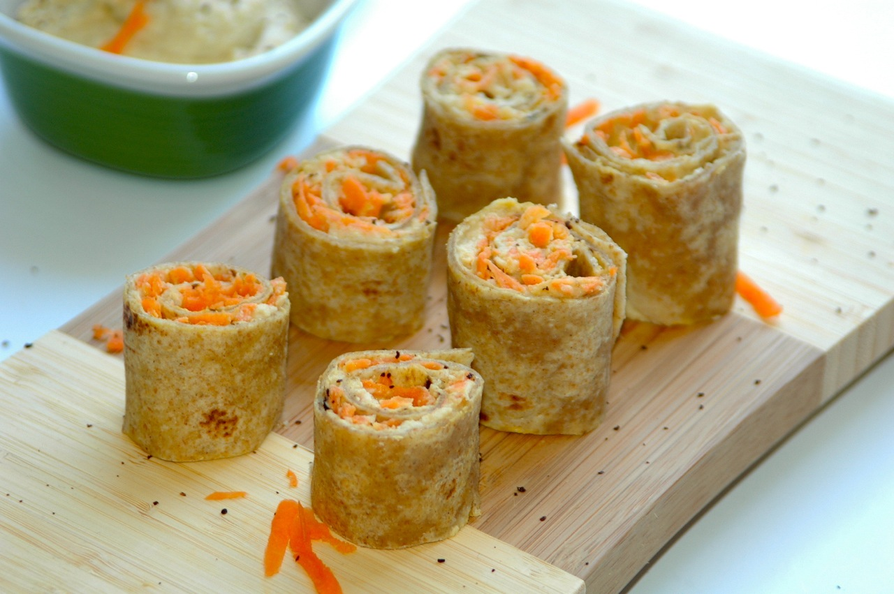 Hummus and Carrot Pinwheels