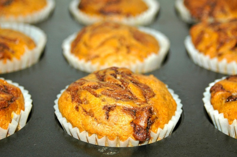 Nutella Swirl Pumpkin Muffins