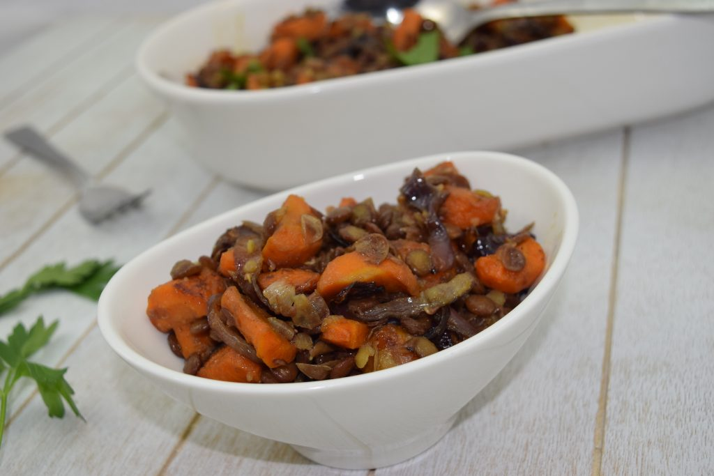 Warm Caramelized Carrot Lentil Salad