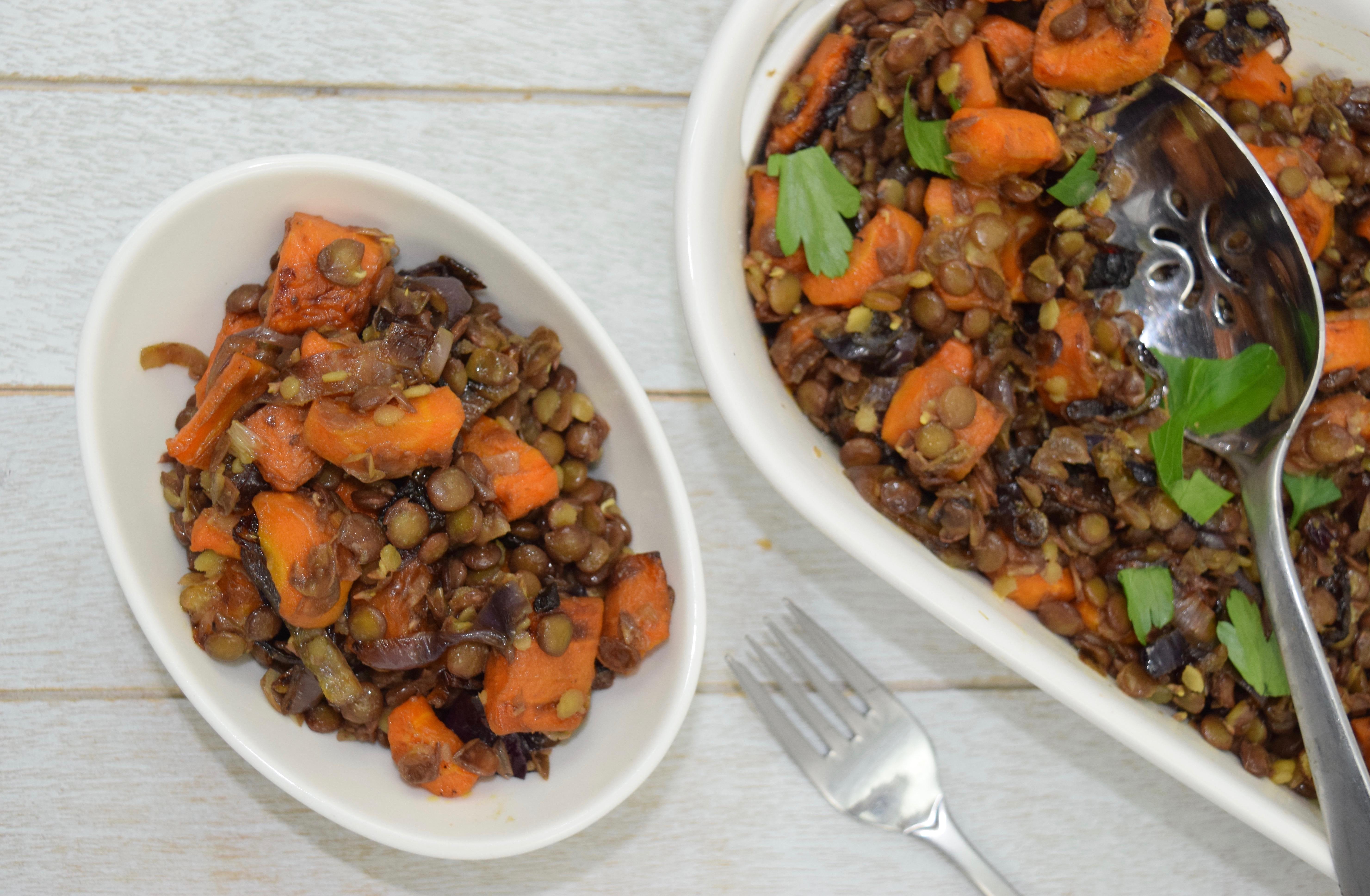 Warm Caramelized Carrot Lentil Salad